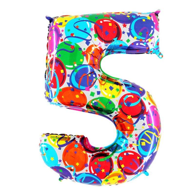 Renkli Balonlar 5 Rakam Folyo Balon 100 Cm Renkli Balonlar Partisi