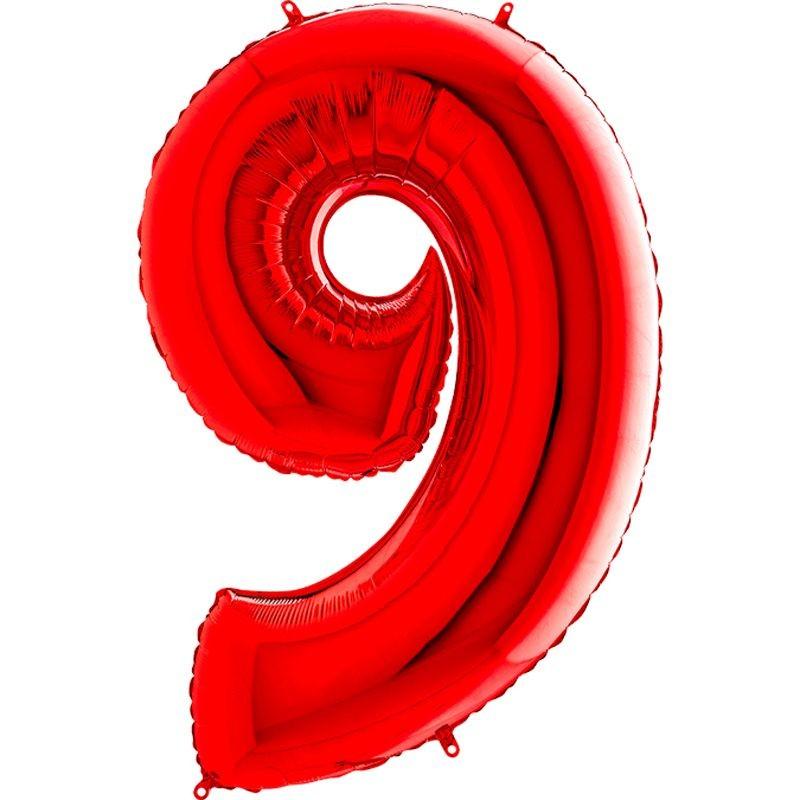 08e0d68c0f896 9 Rakam Folyo Balon 100 cm Kırmızı Renk - Parti Balonları ve ...