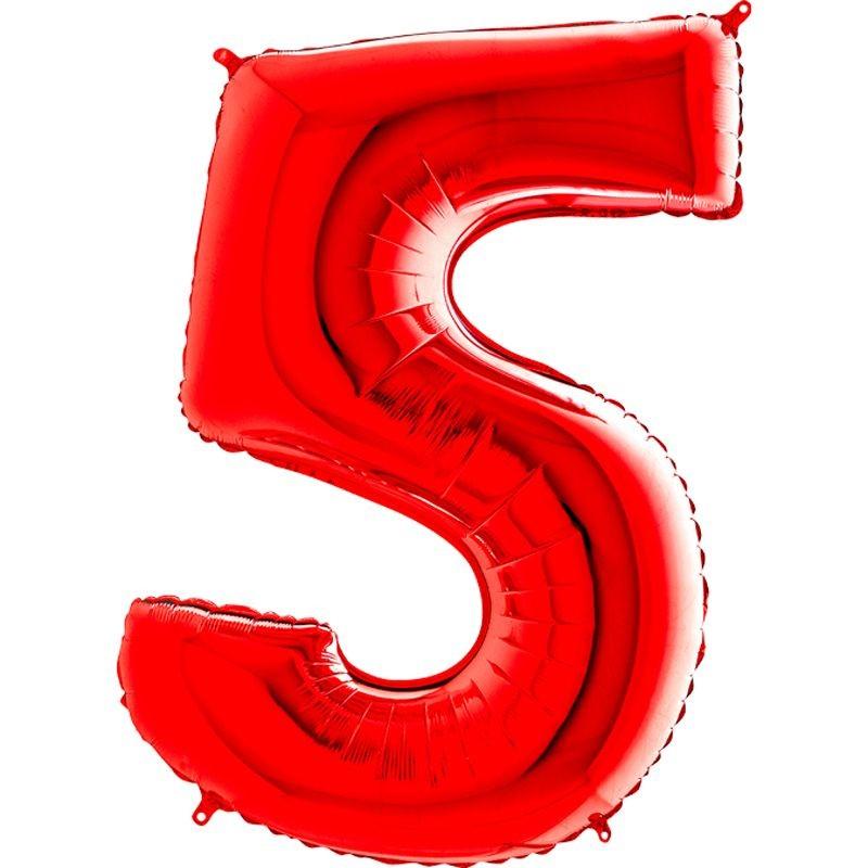 2a4e6c29fa580 5 Rakam Folyo Balon 100 cm Kırmızı Renk - Parti Balonları ve ...
