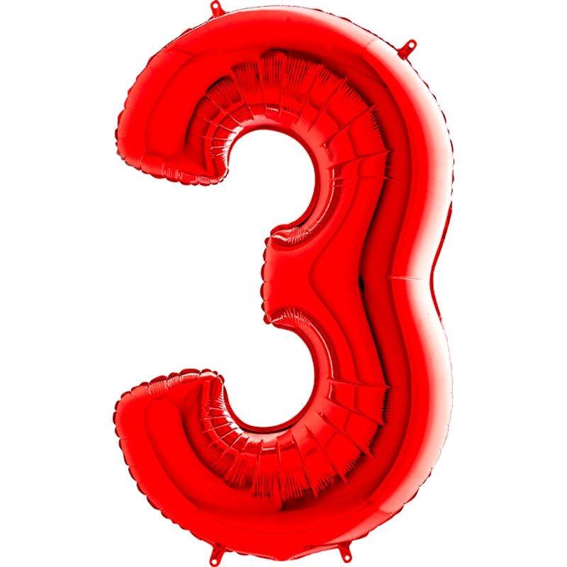 c6efa6fc77a20 100 cm Kırmızı Renk 3 Rakamı Folyo Balon - Parti Balonları ve ...