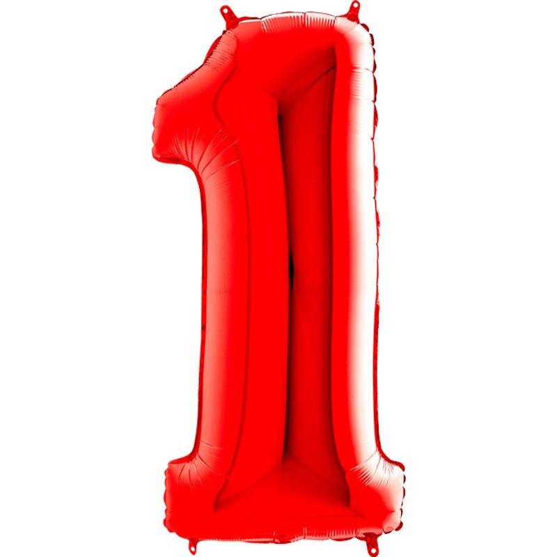c9d55e1a158d3 100 cm Kırmızı Renk 1 Rakamı Folyo Balon - Parti Balonları ve ...