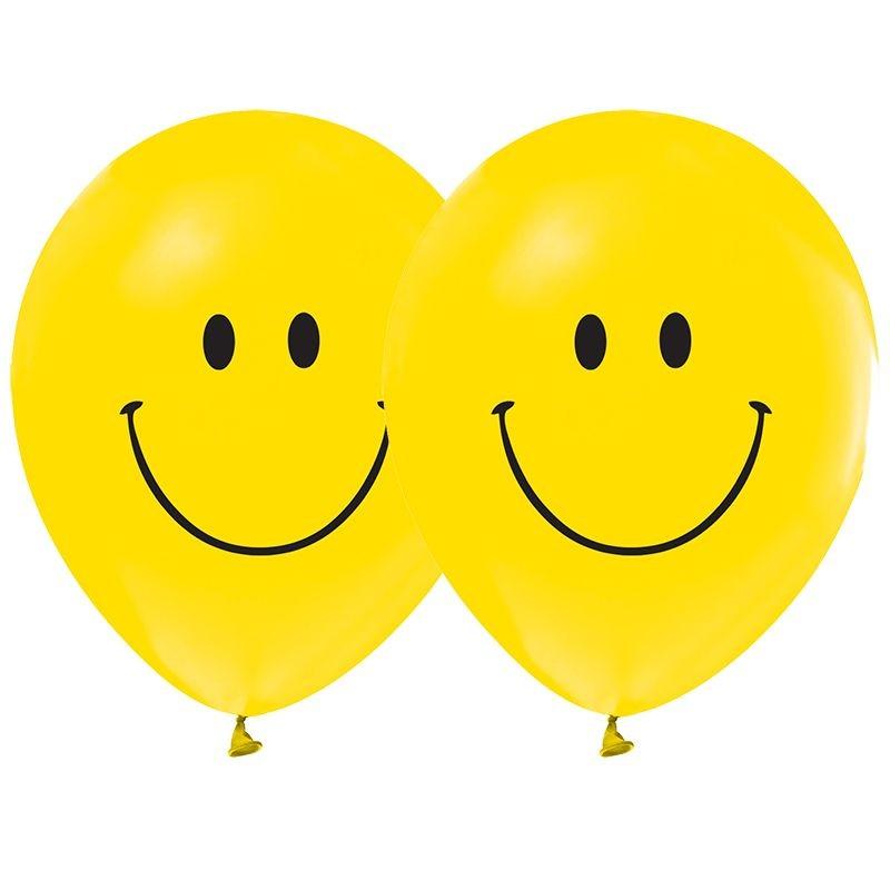 10 Lu Gulen Yuz Baskili Smile Sari Balon Emoji Ifadeler Partisi